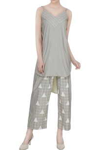 olive-grey-organic-poplin-box-pleated-baggy-ankle-pants