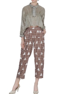 brown-organic-poplin-box-pleated-baggy-ankle-pants