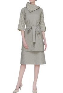 olive-grey-organic-poplin-quilted-skirt