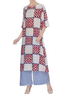 blue-printed-tunic-with-polka-dot-palazzos