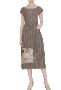 brown-check-dress-with-flamingo-applique-work