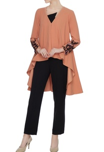 cadmium-orange-cape-with-embellished-cuffs