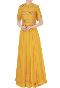 mustard-yellow-silk-chanderi-georgette-embroidered-jacket-maxi-dress