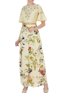 lemon-yellow-crepe-silk-chanderi-floral-applique-work-crop-top-with-pleated-pants