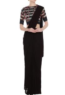 multicolored-stripe-rose-printed-silk-linen-saree-blouse