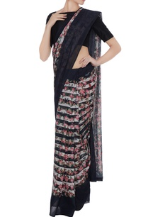 multicolored-floral-printed-silk-linen-saree