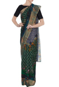 multicolored-handloom-cotton-parrot-printed-saree