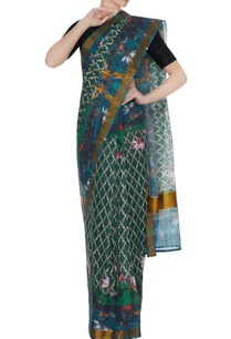 multicolored-handloom-cotton-floral-printed-saree