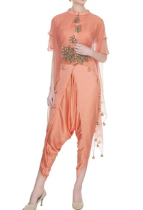 peach-satin-crop-top-with-dhoti-pants-organza-cape