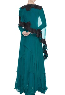 teal-green-chiffon-handkerchief-hemline-anarkali-with-applique-cape