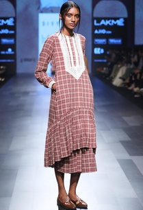 maroon-hand-spun-hand-woven-khadi-chequered-midi-dress