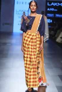blue-yellow-hand-spun-hand-woven-khadi-hand-embroidered-pre-stitched-sari-with-blouse