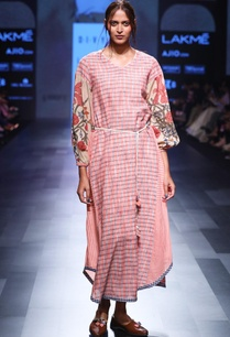 pink-hand-spun-hand-woven-khadi-hand-painted-dress-with-belt