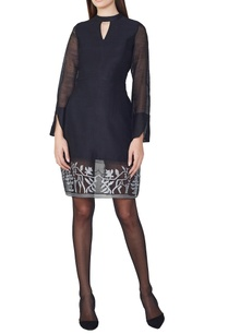 black-handwoven-a-line-dress