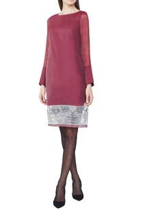 wine-handwoven-jamdani-shift-dress