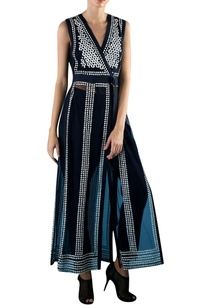 navy-blue-nylon-embroidered-long-tunic