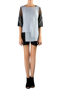 black-grey-viscose-high-low-embellishe-blouse