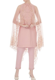 old-rose-embroidered-georgette-kurta-with-net-cape-georgette-pants