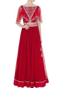 red-embroidered-silk-net-blouse-with-georgette-skirt