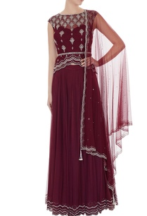 oxblood-embroidered-georgette-blouse-with-net-lehenga-net-dupatta