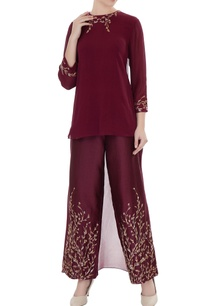 oxblood-embroidered-georgette-high-low-kurta-with-chanderi-pants