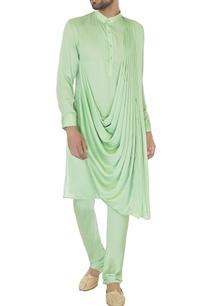green-satin-draped-kurta-churidar