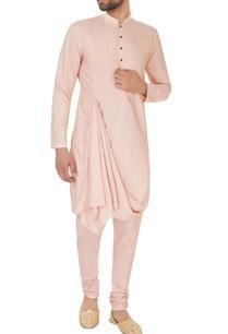 peach-cotton-silk-draped-kurta-and-churidar