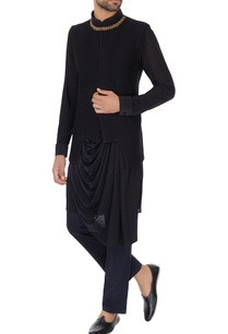 black-blended-polynosic-zardosi-embroidery-bundi