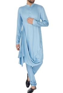 ice-blue-cotton-silk-draped-kurta-churidar