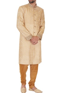 golden-beige-cotton-silk-thread-work-embroiered-sherwani-with-kurta-pyjamas