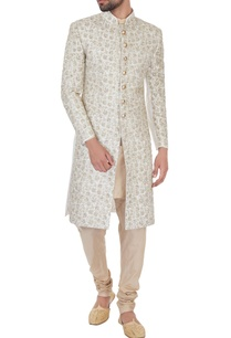 cream-silk-jaal-zari-embroiered-sherwani-with-kurta-churidar