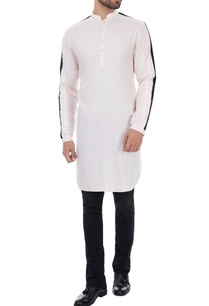 baby-pink-cotton-mullmull-triple-striped-kurta