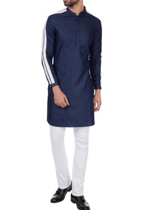 navy-blue-denim-double-striped-kurta
