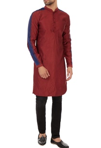 maroon-baby-cord-kurta-with-triple-striped-pattern