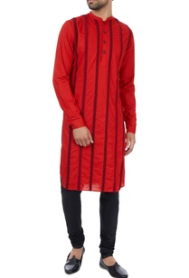 red-paper-silk-striped-embroidered-kurta