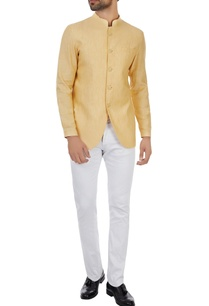 yellow-unlined-linen-bandgala