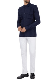 navy-blue-linen-military-shirt