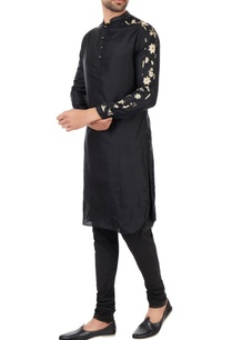black-patterned-sleeves-kurta