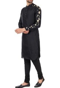 black-patterned-sleeves-kurta