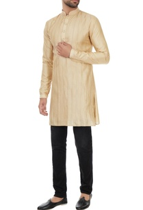 champagne-pintucked-kurta-with-gold-detailing