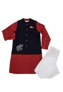 navy-blue-red-cotton-elephant-motif-bandi-with-cotton-silk-kurta-poplin-pyajama