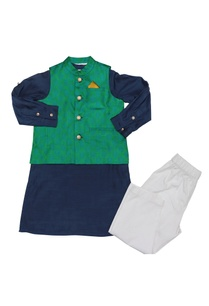 sea-green-navy-blue-tanchoi-bandi-with-cotton-silk-kurta-poplin-pyajama