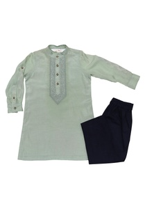 pista-green-navy-blue-cotton-embroidered-kurta-pants