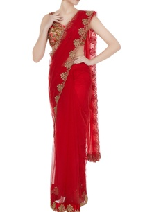 red-net-sequin-embroidered-zari-saree-with-lace-blouse