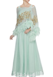 aqua-chiffon-net-sequin-lehenga-with-blouse-cape