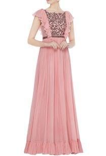 pink-chiffon-layered-ruffle-sleeve-gown