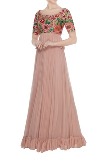 rose-gold-hand-embroidered-floral-blouse-with-pleated-skirt