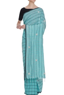 pale-blue-cotton-linen-mirror-work-saree-with-blouse-piece