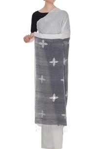 white-linen-mirror-work-sari-with-blouse-piece