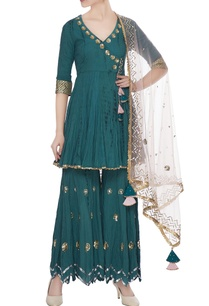 teal-organic-cotton-gota-sequin-work-kurta-with-gharara-dupatta